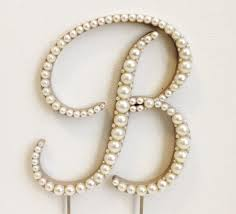 pearl monogram cake topper pearl monogram wedding cake topper font 4 wood