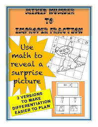 mixed number to improper fraction puzzle activity worksheet 18
