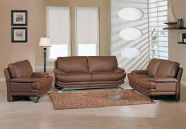 Modern Leather Living Room Furniture Brown Leather Sofa Loveseat And Chair For Modern Minimalist Living