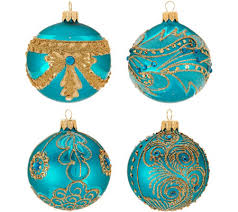hallmark heritage s 4 blown glass ornaments with glitter accents