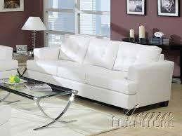 amazon com acme 15095 bonded leather sofa white kitchen u0026 dining