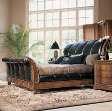 Black Classic Bed Designs Leather Look Sleigh Bed Leather Sleigh Bed Look Very Classy And