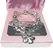 flower girl charm bracelet flower girl gift flower girl charm bracelet with personalised