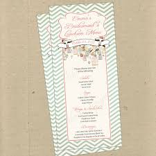 bridesmaid luncheon wording birdcages birds chevron 2 custom menu card bridal baby