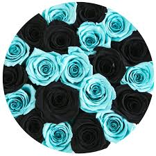 white and blue roses small box white black blue mix eternity roses