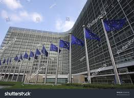 Flags In European Flags Front European Commission Headquarters Stock Photo