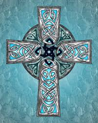blue traditional celtic cross print from ravensdaughter
