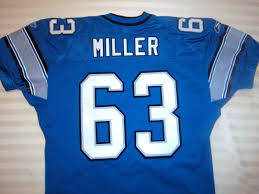 detroit lions game worn jersey miller 63 302403325036 43 99