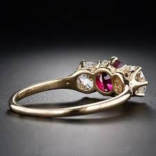 tiffany stone rings images Tiffany co antique ruby and diamond three stone ring jpg
