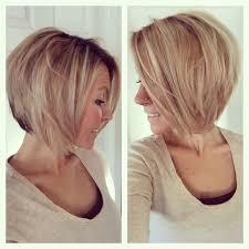 graduated layered blunt cut hairstyle short medium angled bob haircut reverse bob blonde highlight