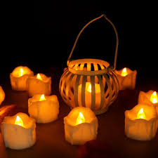 halloween flameless candles amazon com youngerbaby 24pcs amber no flicker led tea lights wax