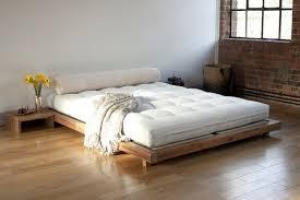 unpolish wooden cheap king size platform bed with grey shikibuton