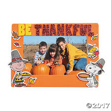 peanuts thanksgiving picture frame magnet craft kit