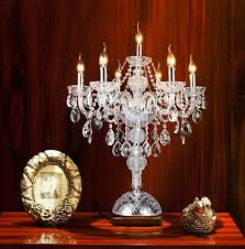 Wedding Chandelier Centerpieces European Wrought Iron Candlesticks Table Lamps For Bedroom Crystal