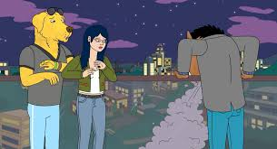bojack projectile vomiting cotten candy when he finds out diane