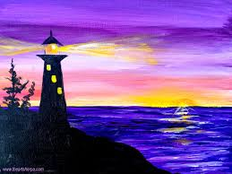 youtube halloween lights easy sunrise painting of a silhouette lighthouse with light on