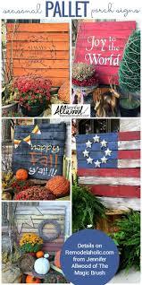 easy diy seasonal painted pallet porch signs make a big impact