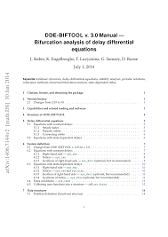 dde biftool manual bifurcation analysis of delay differential