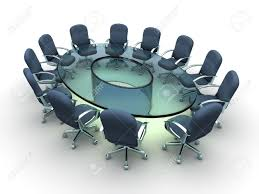 Cool Meeting Table Glass Conference Table With Business Chairs 3d Render Stock
