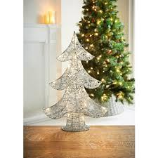 light up glitter tree 55cm silver decorations b m