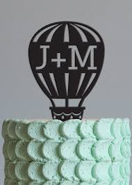 air cake topper cake topper personalize cake topper hot air ballon intitals cake
