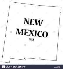 a new mexico state outline with the date of statehood isolated on