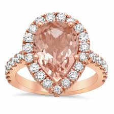 morganite pear engagement ring morganite pear pave halo engagement ring