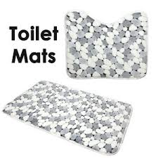 Non Slip Bath And Pedestal Mats Sets 2 Soft Cotton Bath Pedestal Mats Stone Toilet Non Slip