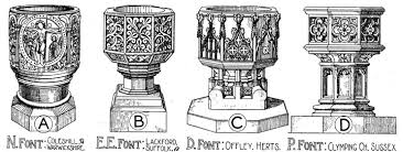 examples of english gothic design u2014 baptismal fonts drawn by