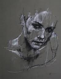 artist guy denning charcoal and chalk contemporary female head