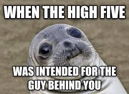 High Five Meme - awkward high five awkward moment seal know your meme