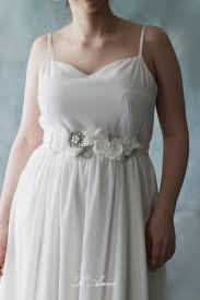 wedding sash simple design beautiful white soft chiffon flower wedding sash