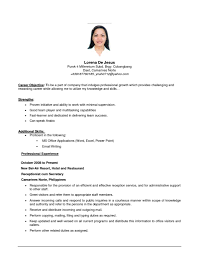 Examples Of Experience For Resume by Example Of Objective For Resume Berathen Com