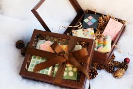 rigid brown gift box 4 soaps one leaf soap