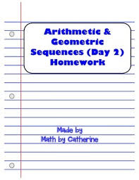 arithmetic and geometric sequences day 2 homework worksheet tpt