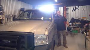 headache rack with light bar ford f350 gets a 40 led lightbar insanely bright powermodz youtube
