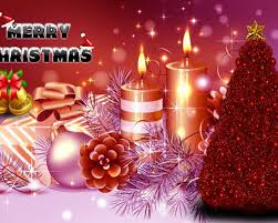 greeting card for new year christmas tree candles bells gifts