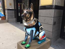 guard dog statue dog sculptures downtown chicago honor canine unit wls am