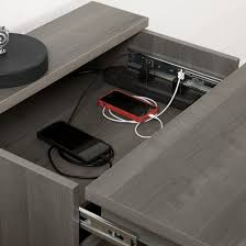 Desk With Charging Station Versa Nightstand With Charging Station And Drawers Gray Maple