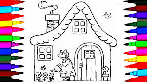how to draw house with a doll watering the plants coloring pages