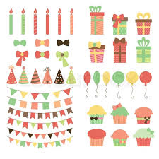 decorative ribbons set of birthday party design elements colorful balloons flags