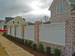 brick columns u0026 wood privacy fence franklinfenceanddeck com