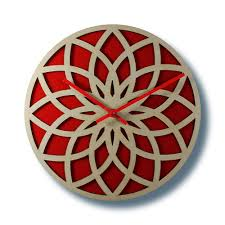 Wooden Wall Clock by Wooden Wall Clock Lotus Circle With Red Acrylic U2013 Nygaard Design