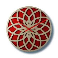 wooden wall clock lotus circle with red acrylic u2013 nygaard design