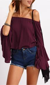 burgundy off the shoulder bell sleeve top romwe women style