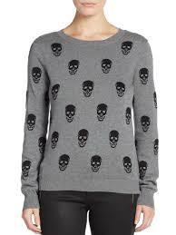 skull sweater lyst saks fifth avenue skull sweater in gray