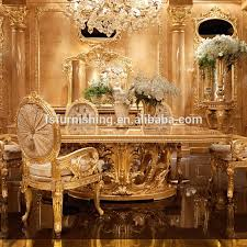 Royal Dining Room Momoda New Arrival Luxury Golden Dining Table Royal Dining