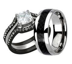black wedding band sets 15 best collection of black titanium wedding bands sets
