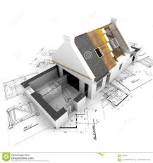 Free Download Residential Building Plans by House With Exposed Roof Layers And Plans Royalty Free Stock