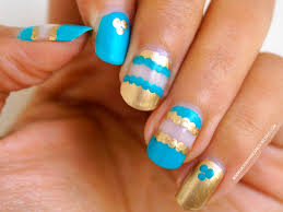 teal and gold negative space nail art step by step tutorial